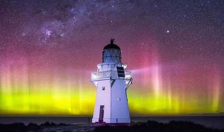 تصاویری زیبا از آسمان رنگارنگ و پرستاره نیوزیلند 