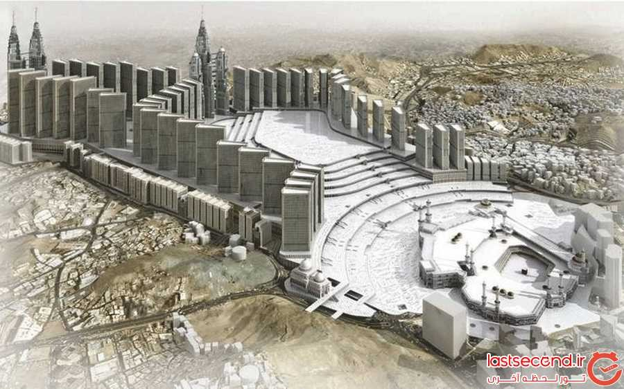 این تصویر نشان می دهد که بخش های شمالی مسجد بزرگ به چه شکل در خواهد آمد، نقطه ی سیاه کوچک کعبه است.