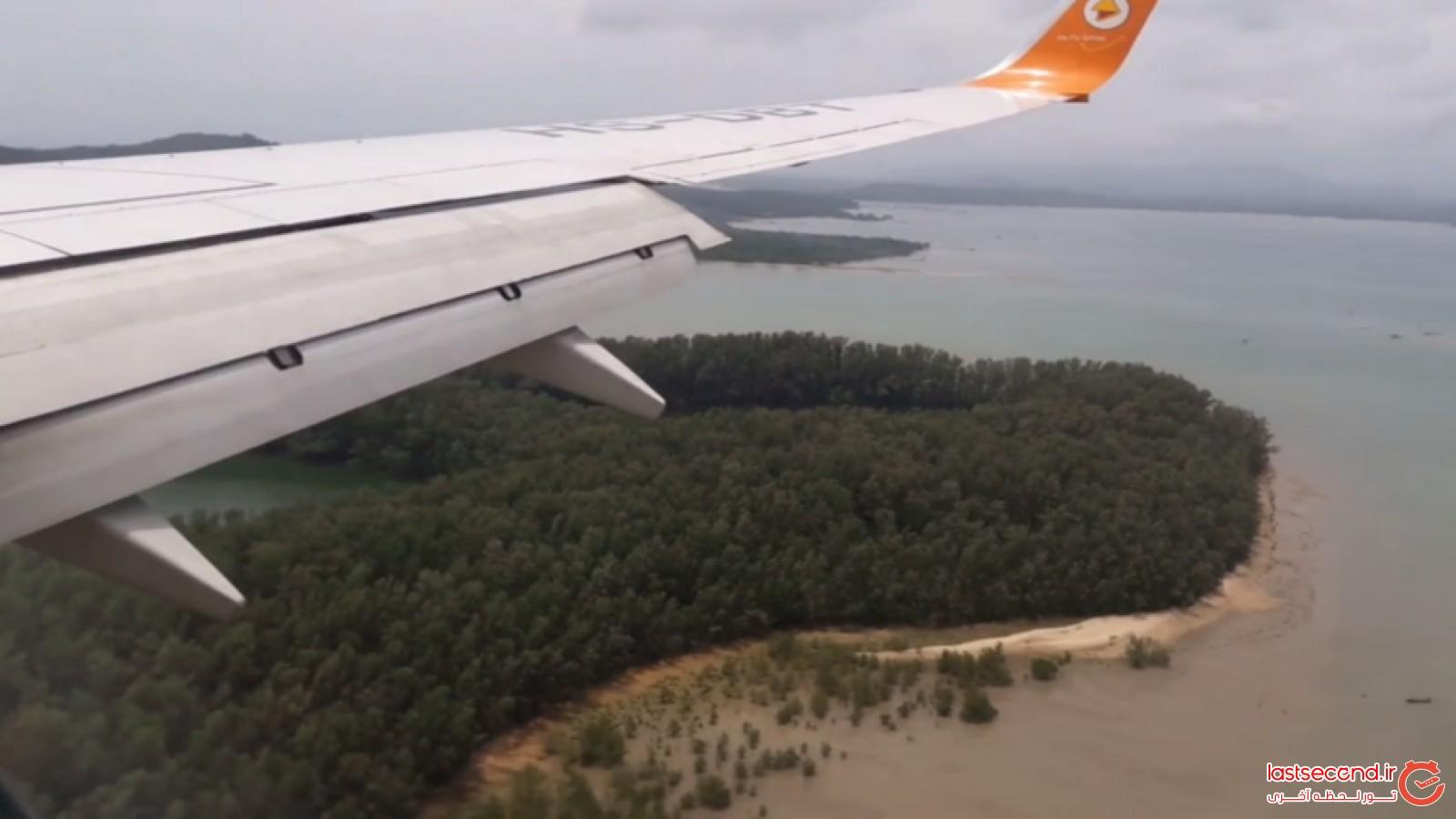 لحظه فرود هواپیما در جزیره پوکت