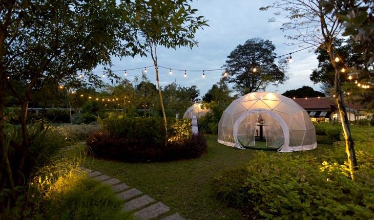 تجربه ی صرف شام در آلاچیق های گنبدی باغ سبزیجات سنگاپور