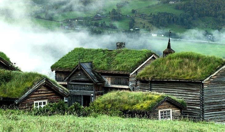 اقامتگاهی با سقف های چمن کاری شده در نروژ
