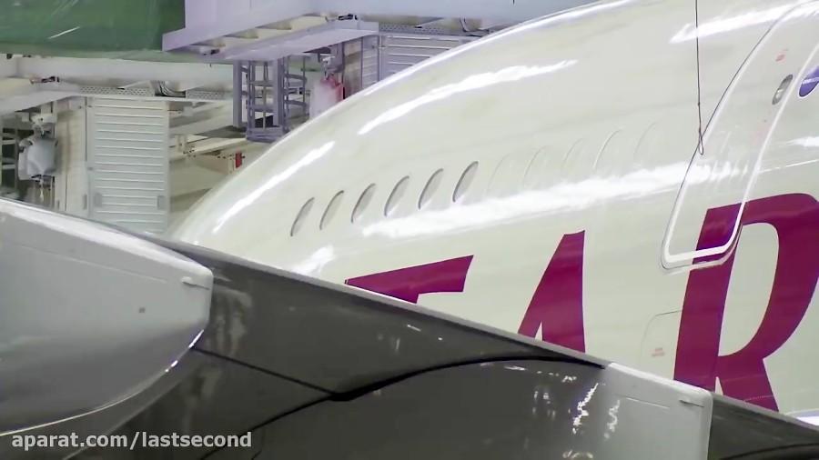 رنگ کردن هواپیمای ایرباس A380 قطری