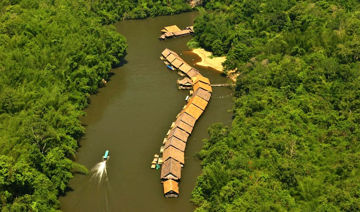 ریور کوای جانگل رفت ریزورت (River Kwai Jungle Rafts)  ، هتلی شناور بروی آبها در تایلند