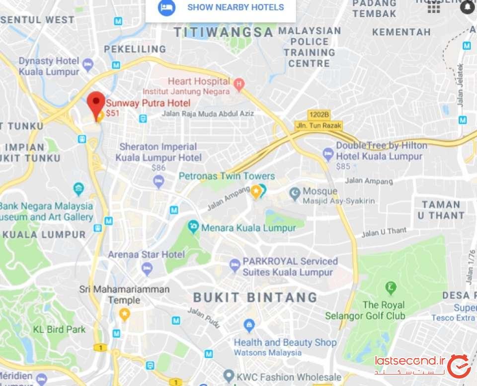 موقعیت هتل سانوی پوترا در شهر کوالالامپور