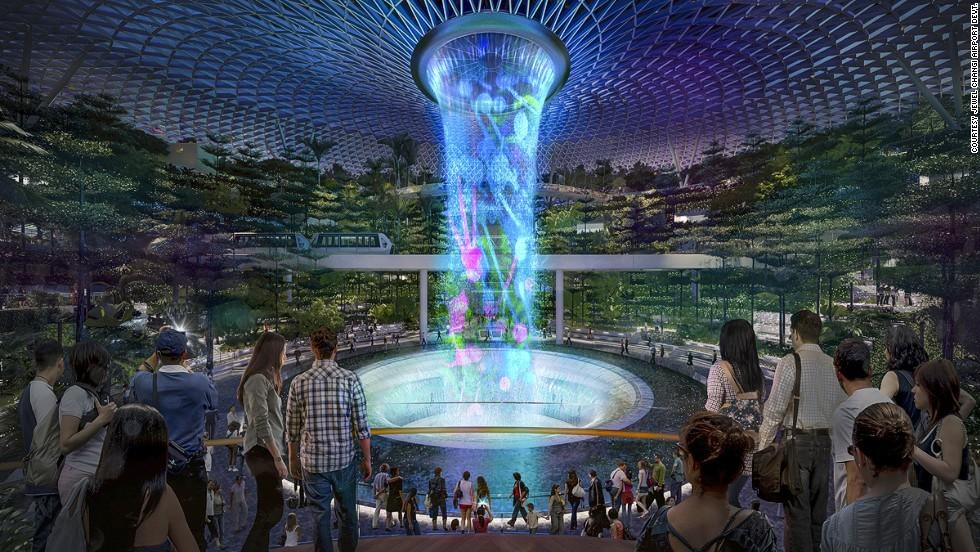 بزرگترین آبشار سرپوشیده دنیا در فرودگاه چانگی سنگاپور