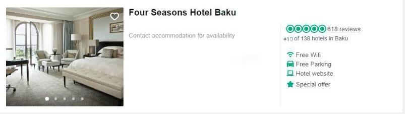 بهترین هتل های باکو از نظر تریپ ادوایزر