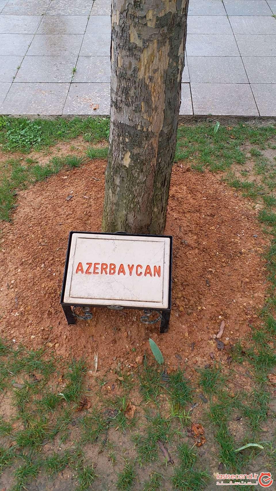 نمونه ای از نام کشورها در پای درختان