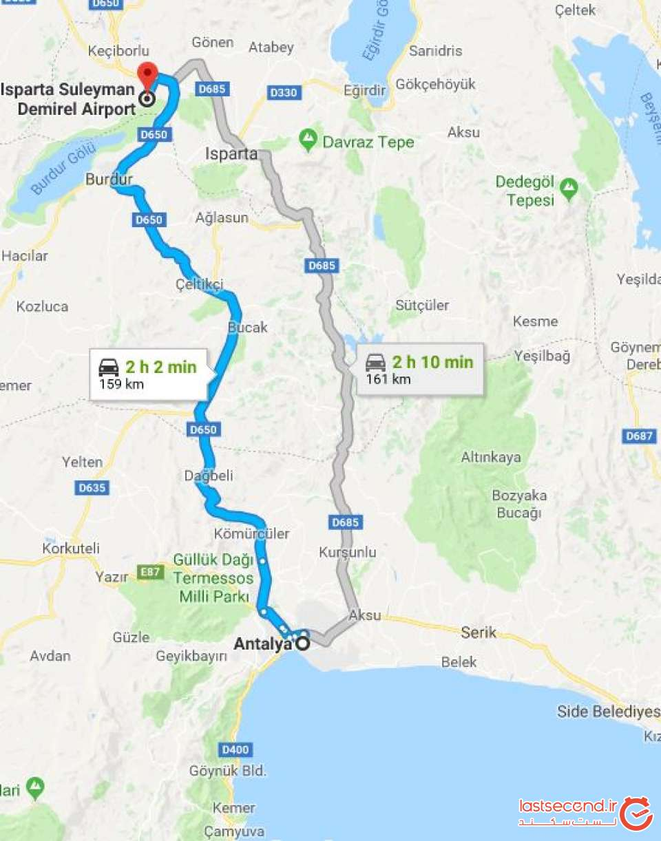 مسیر حرکت فرودگاه اسپارتا تا آنتالیا