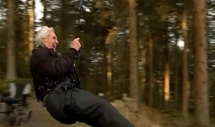 پیرترین زیپ لاین سوار دنیا