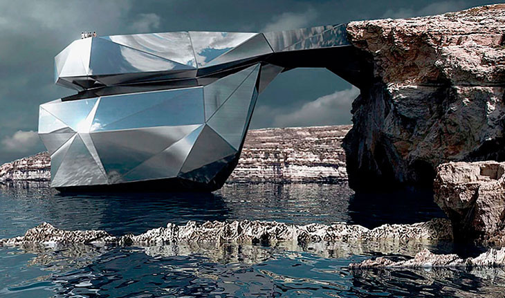 معماری خیره کننده ساختمانی که به مانند یک سنگ طبیعی طراحی شده است.