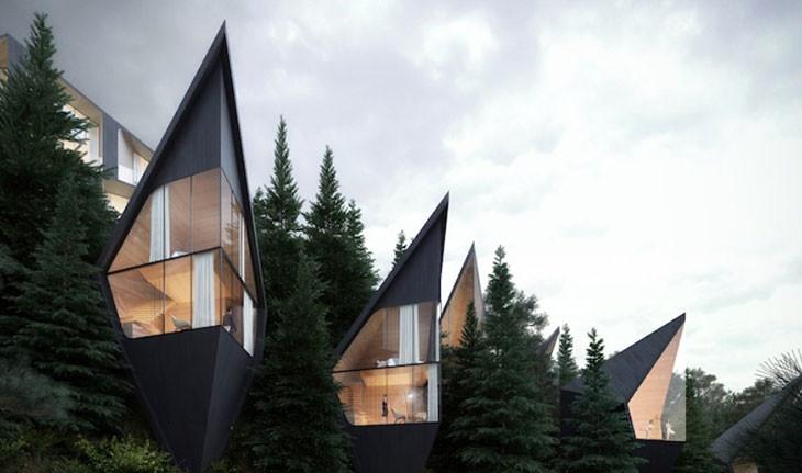 خانهدرختیهای مدرنی که به شکل منشور طراحی شده اند