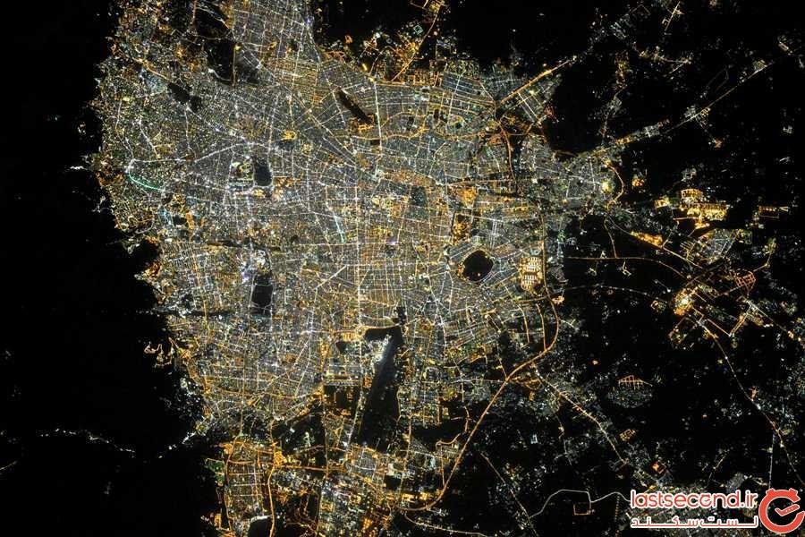 شهرهای بزرگ در شب از زاویه دوربین یک فضانورد روس در ISS