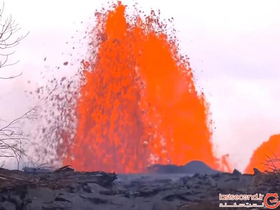 مردی که به عمق 21 متری دهانه آتش فشان فعال هاوایی سقوط کرد
