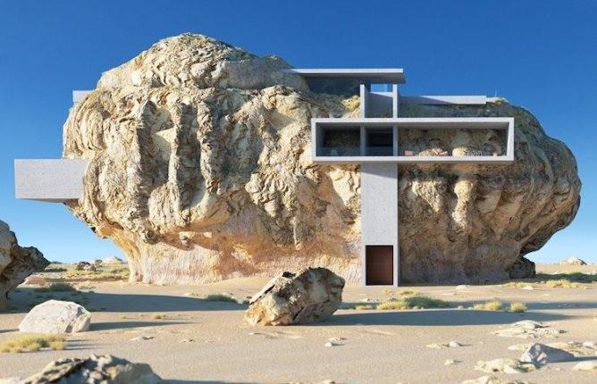 خانه ای مدرن و عجیب که در دل سنگی باستانی ساخته شده است