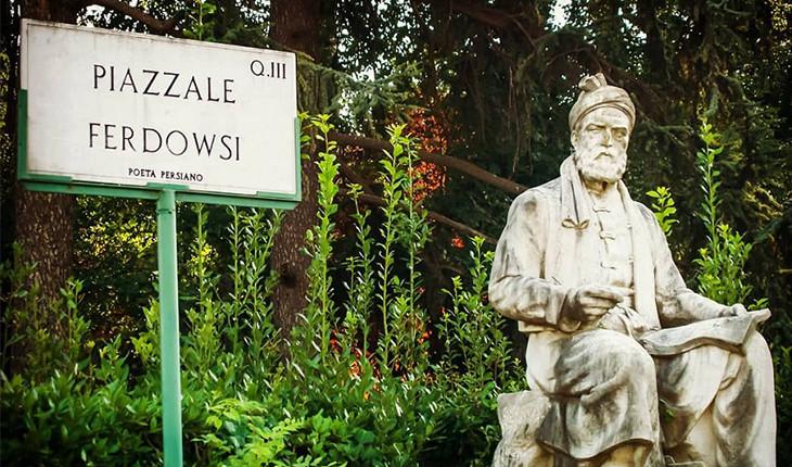 خودنمایی مجسمه شاعر بزرگ ایرانی، فردوسی، در پایتخت ایتالیا