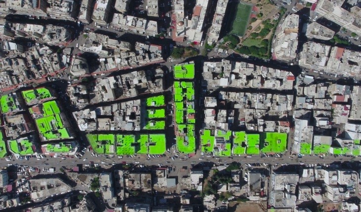 طرح سلام، پیام آور صلح در تریپولی لبنان، بر فراز پشت بام ها