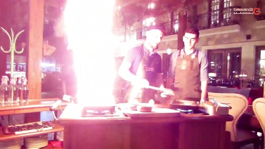 طبخ زیبای استیک در منقل استیک هاوس