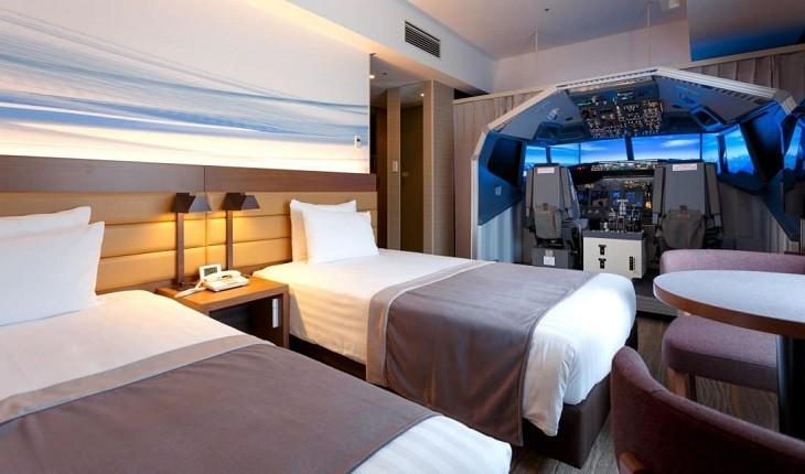هتل فرودگاهی ژاپن شبیه ساز پرواز را به اتاق میآورد