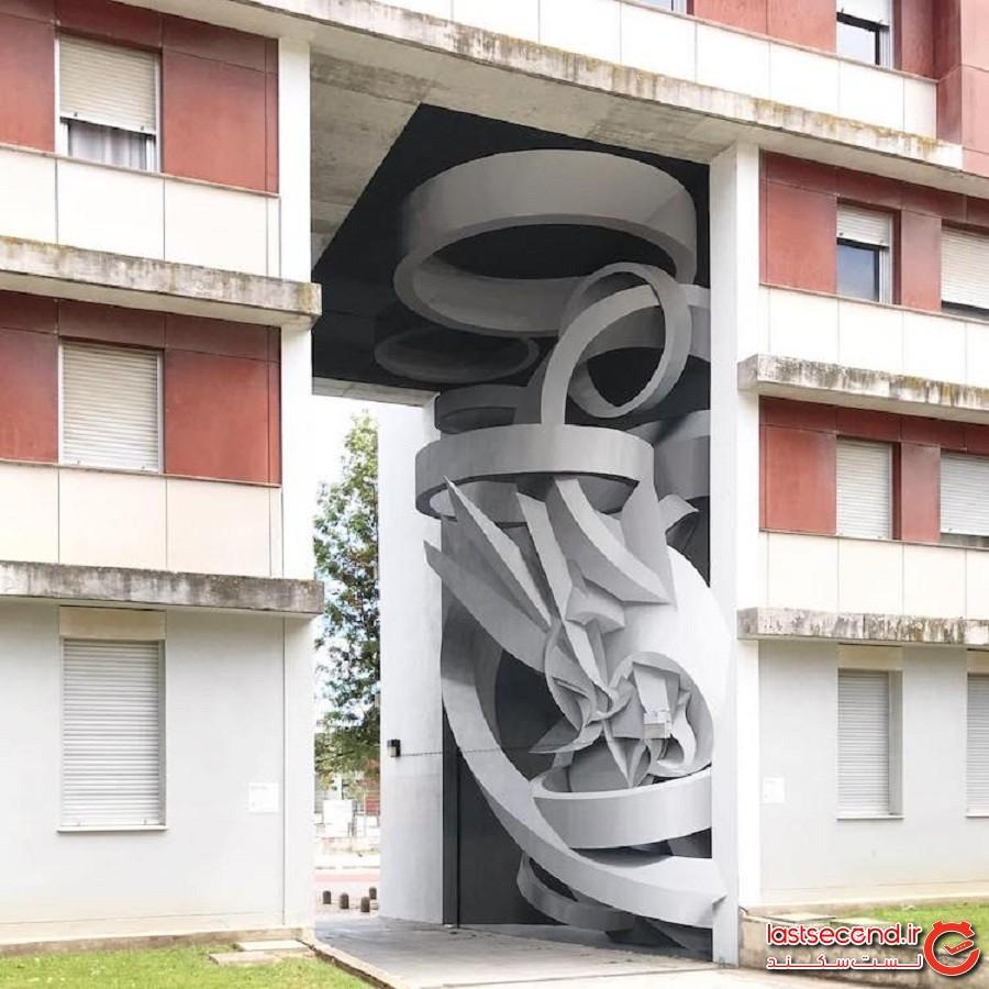 دیوارنماهای دارای توهم نوری گیجکنندهای که ساختمانهای عادی را به ظاهرهای سهبعدی بزرگی تبدیل میکنند