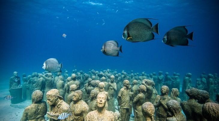 آثاری هنری در زیر آب که فقط یک بار در روز قابل مشاهده هستند
