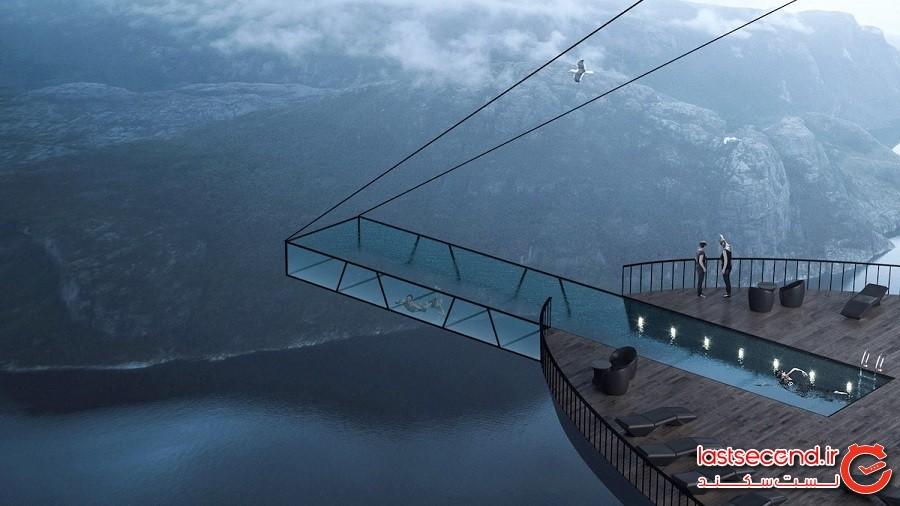 استخر عجیبی که 406 متر بالاتر از سطح زمین قرار گرفته است!