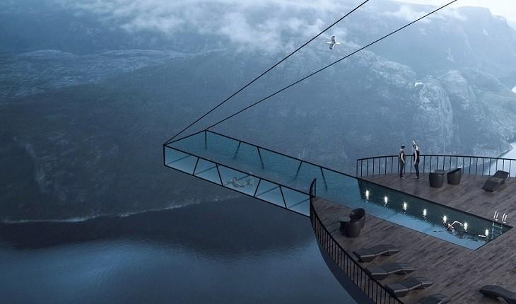 استخر عجیبی در نروژ که 406 متر بالاتر از سطح زمین قرار می گیرد!