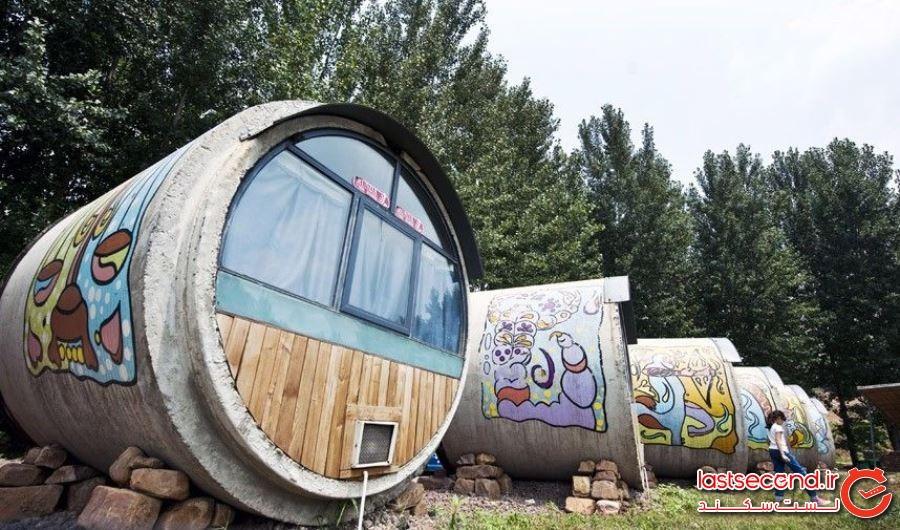 هتل های منحصر به فرد چین که از یک لوله بتنی قدیمی ساخته شده اند