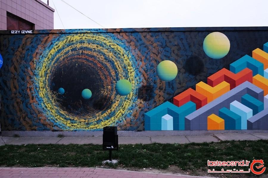 هنرمندی خیابانی، دیوارها را با گرافیتی سهبعدی به دروازهای رو به جهان دیگر تبدیل کرد.