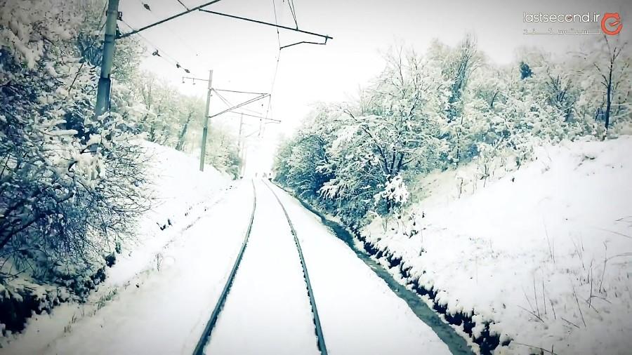 برف در مسیر ریلی تبریز جلفا