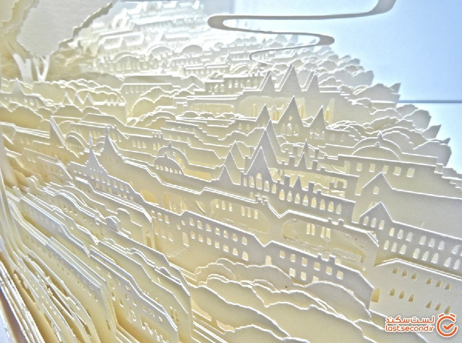 شهرهایی سفید که با برش ها و لایه های کاغذ ساخته شده اند