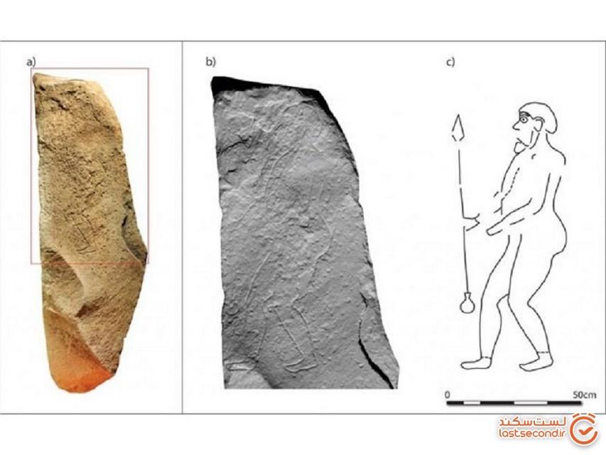 کشف حکاکی تصویر مرد باستانی نیزهبهدست اسکاتلندی روی سنگ