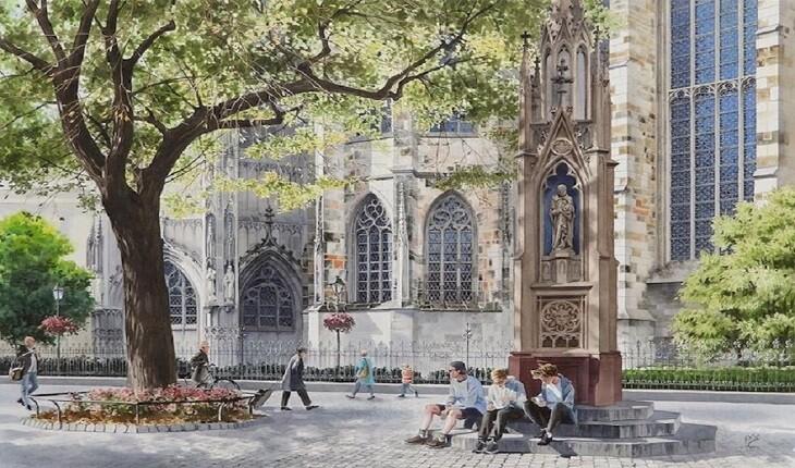 هنرمند گردشگر با نقاشی هایش معماری کهن اروپا را جاودانه کرد!
