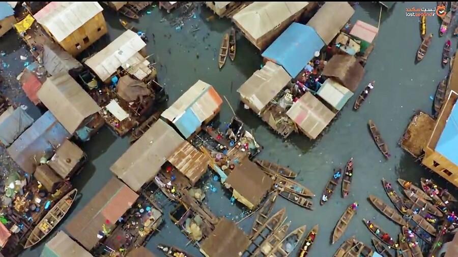 پخت غذاهای دریایی در بزرگترین زاغه های شناور آفریقا !