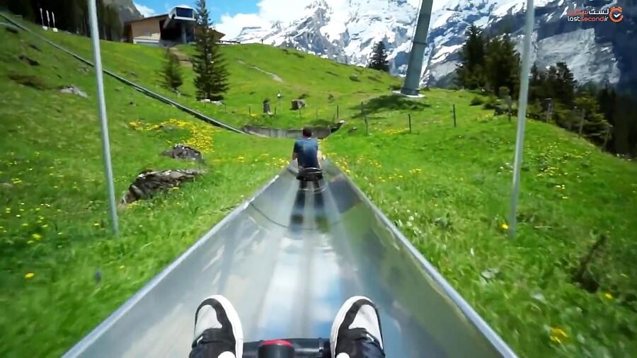 سورتمه سواری در طبیعت زیبای کوه های سوئیس