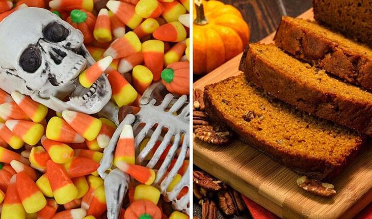 غذاهای سنتی بر روی میزهای وحشتناک جشن های هالووین