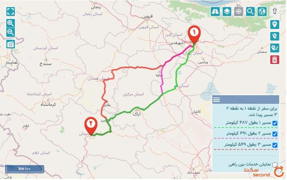 مسیر تهران خرم آباد