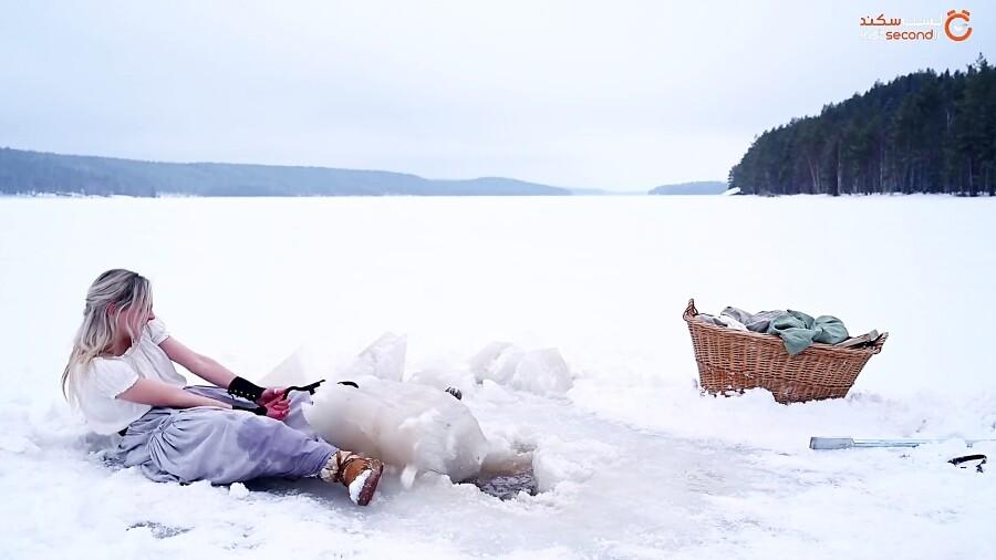 لباس شستن در قطب شمال!