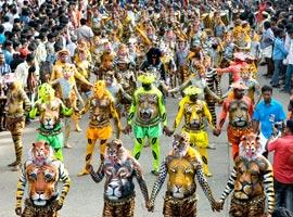 تصاویری شگفت انگیز از جشن رقص ببرها در هند